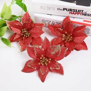 Nuovo design 13cm 30pcs / Lot artificiali fiori glitter Natale albero pendente di goccia Ornamenti rossi Decorazioni di Natale Felice