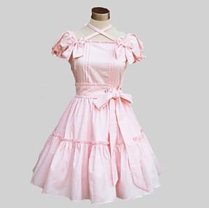 Kısa Kollu Diz Boyu Pamuklu Tatlı Lolita Elbise