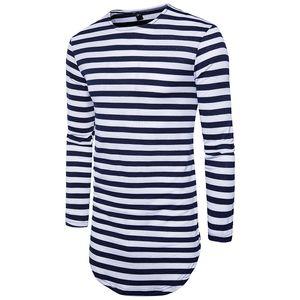 2018 Nueva extendido la camiseta del verano del palangre del Hip Hop Tee Shirts de manga larga para hombre Camisetas Negro S-2XL