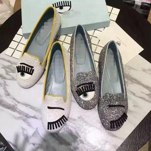 Кьяра Ферраньи мигает золото серебро блестками Обувь плоский 2018 bling бездельник ленивая женщина балетки обувь скольжения на женские мокасины танцевальная обувь