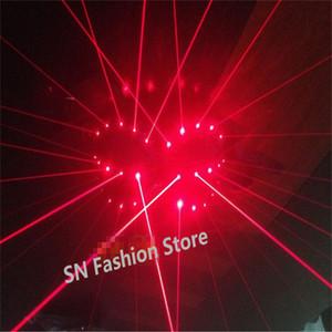 TT03 Kırmızı Lazer ışık sutyen çubuğu dj kostümleri robot kadın parti sahne kostümleri performans dj bez balo salonu dans lazer adam gösterisi projektör giyer