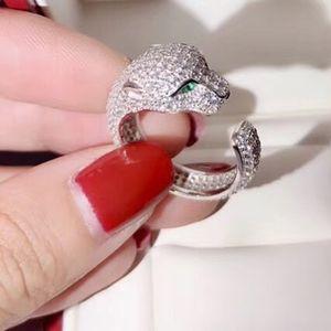 925 الفضة العلامة التجارية خواتم الفهد رئيس الحيوان مطعمة حجر الزركون الفهد الدائري للنساء هدية