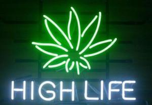 """Benutzerdefinierte New HIGH LIFE Echtglas Neon Sign Licht Bier Bar Zeichen senden Need Photo 19 x 15 """""""