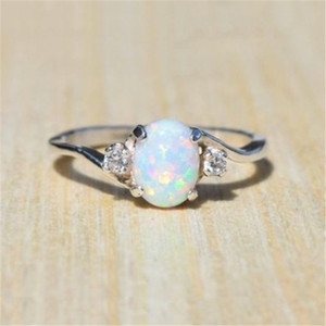 Nueva banda de boda Oval anillo de ópalo de fuego joyería de moda Las mujeres de color plata anillos de circón para niñas 5 colores USTED elige SJ