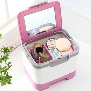 Alta qualidade de Luxo caixa de armazenamento de Cosméticos à mão portátil Caixa de Armazenamento De Maquiagem espelho Organizador Caixas de Vestir caso Rack de Peito de Medicina