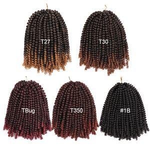 8 pouces Crochet Tresses Ombre Printemps Twist Hair Kanekalon Synthétique Extensions de Cheveux Tresses 110g / pack pour les femmes