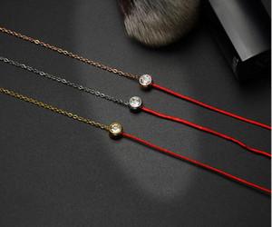 Korean Red Rope Bracelet Brand Bracelet High Quality Stainless Steel Bracelet For Women Fashion Rhinestone Jewelry