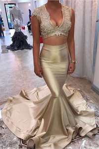 Luxury Gold Mermaid Pageant Prom dresses Cheap V neck With Short Sleeves Two Pieces Applique Lace Sweep Train Long Evening Formal Gowns