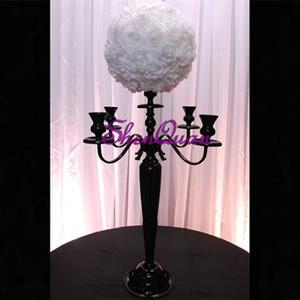 """Foshan nave gratis vintage chic elegante nero 5 bracci candelabri metallo cristallo prismi H28 """"candeliere vittoriano di Parigi per la decorazione domestica"""
