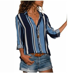 VITIANA Frauen Striped Business Casual Bluse Tops Weibliche 2018 Sommer Herbst Langarm Print High Street Lose T-shirts