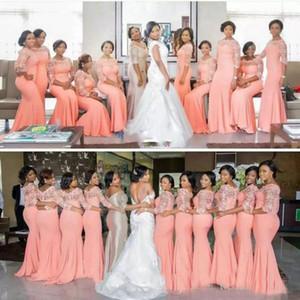2018 Coral Chiffon Lace Blush lunghi abiti da damigella d'onore con mezze maniche Plus Size Lace Mermaid Party Dress Beautiful Bridemaid Dresses Afric