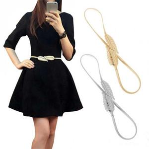 2018 Cadeia De Cintura De Metal Cintos Folha Senhora Cintos Elástico Primavera Vestido De Ouro Mulheres Finas Cinto Decoração Acessórios De Moda De Ouro / Prata