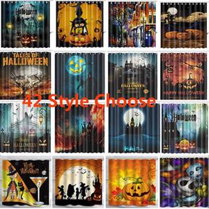 Crânio abóbora Cortinas Halloween XMas Shower Curtain New 3D Banho cortina impermeável com ganchos 165 * 180 centímetros DHL 42 projetos de navios HH7-1471