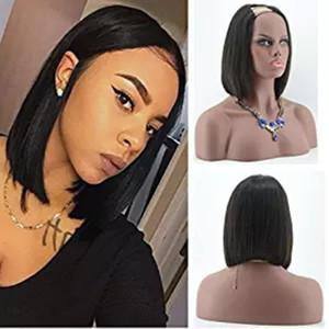 Human Hair u partie perruque Bob court Silky droite Glueless Vierge brésilienne U humaine Partie Perruques Bob upArt perruques pour les femmes noires