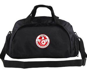 Borsone Tunisia 2018 tote nero puro Calcio logo squadra uomo zaino Borsone da calcio sportivo Borsone da spalla sportivo Imbracatura bandiera