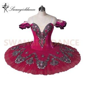 Personalizado Rosa vermelha Clássico Ballet Tutu Traje de Dança Da Bailarina ProfissionalBT8992D