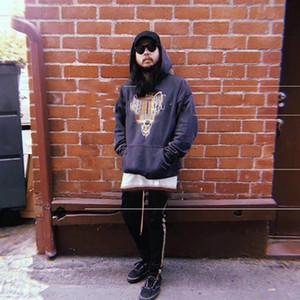 18AW RHUDE LA Limited Edition Strass Wolf Head Old Felpa con cappuccio Retro High Street Fashion Uomini e donne di alta qualità Coppia maglione HFSSWY110