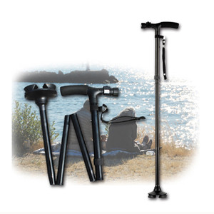 Folding Old Man LED Light Safety Walking Stick 4 Head Pivoting Trusty Base For T-Handlebar Trekking Hiking Poles Cane for elders