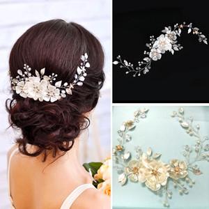 Européenne élégant Perle Feuille Mariée Coiffures Fleur De Mariage Bandeaux Femmes Bande De Cheveux Chapeaux Filles Mariage Voile Robe Accessoires De Cheveux