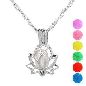 Gabbia di perle Ciondolo di gioielli di loto Gioielli medaglione risultati Cage Diffusore di olio essenziale Locket per Oyster Pearl Fiber Ball