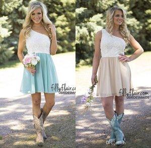 Vestidos de dama de honor cortos del país Vestido de damas de honor de encaje de un hombro Vestido de invitado de boda barato Vestidos de fiesta de baile