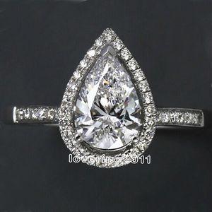 Choucong Pear Cut Forma 5A Zircon CZ 925 Sterling Silver Compromiso Anillo de boda SZ 5-11 Regalo de envío gratis