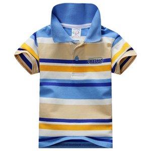 2018 Verão 1-7Y Criança Baby Boy Gola Listrada T-shirt Casual Crianças Tops Tee Camisa Polo