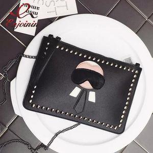 New Cartoon Design personalisierte Mode Lafayette Nieten Umschlag Tasche Clutch Geldbörse Handtaschen Casual Umhängetasche schwarz silber
