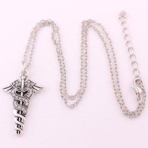 Hot Wings Bağlantı Kristal Yılanlar Caduceus kolye Idamd ile Geliş kolye çevrelenen Satış Yeni Medic Sembol Zinciri