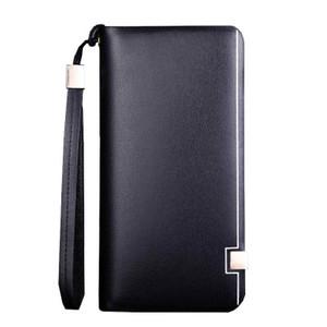 Großhandels-Neue Herrenbrieftasche Leder Echte Baellerry Marke Business Lange Brieftasche Männlichen Clutch Bag Designer Mobilen Beutel Braun Baelerry