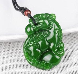 Jade Gravure Jade Naturel Pendentif Collier Dieu Bête Vert Jade Statue Amulette Pendentif Collection Ornements d'Été Pierre Naturelle