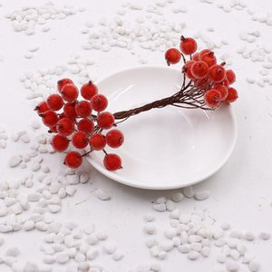 200 adet / 400 kafa Mini Sahte Meyve Cam Meyveleri Yapay Kiraz Buket Ercik Noel Dekoratif Çift Kafaları Ev Düğün dekor