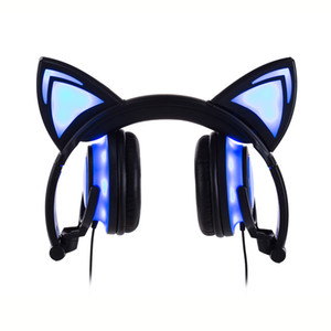 Newest Gaming Headset Earphone with LED light Foldable Flashing Glowing Cute Cat Ear Headphones For PC Laptop Computer Mobile Phone By DHL