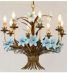 Amerikan Demir romantik çiçekler prenses ev sıcak pastoral oturma odası avizeler restoran villa ışıkları avize süspansiyon