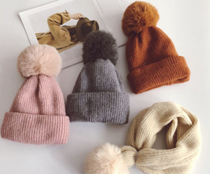 Kids big faux fur pompon knitted hat autumn winter girls warmer beanie caps boys knitting ring children's dual-use hat scarf F0515
