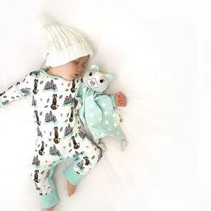 2018 Ropa para niños pequeños Bebé recién nacido Ropa para niñas Dibujos animados de manga larga Fox Trees Impresión Mameluco del mono Trajes de algodón Mamelucos del bebé 0-18 M
