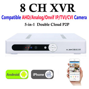 Новая видеокарта XVR 8канал видеонаблюдения видеорегистратор все HD с разрешением 1080p 8-канальный супер DVR Запись 5-в-1: Поддержка AHD/аналоговых/стандарт ONVIF IP-адрес/ТВі/ХВН камеры