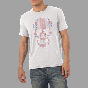 Maglietta da uomo con strass Union Jack Flag Skull Diamante Crystal