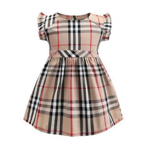 Mädchen kleines Plaidkleid 2019 IN heißen Arten der neuen Sommermädchenkinder Plaid Qualitätsbaumwollkleidkinder elegantes Spitze Ärmel Kleid