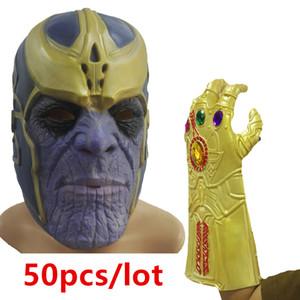 50pcs 타 코스 코스프레 결투 라텍스 장갑 헤드 커버 어벤저 스 War Superhero Avengers Thanos Glove 할로윈 파티 소품