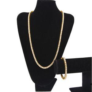 Venta caliente Helado hacia fuera 1 Fila Rhinestones cadenas de joyería conjuntos de hombres Bling Clear simulado Diamond bracelet necklace set Para Hombre joyería de Hip hop