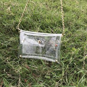 las mujeres transparentes hombro del embrague del monedero de la manera día de PVC transparente bandolera bolsa de juego con el envío de DHL