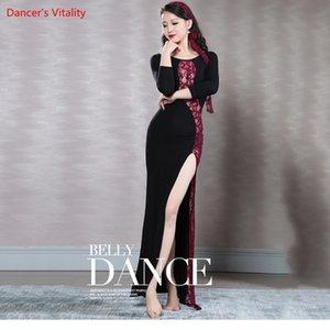 2018New Wholesale Belly Dancing Clothes Sexy Lace + robe modale robe de danse du ventre pour les femmes de danse latine haute fente