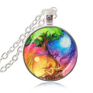 Collana con ciondolo ad ala d'angelo Ying Yang Gioiello Sole e Luna Reiki Energy Healing Angel Choker Albero della vita Hope Jewellery Fairy Necklace Gift