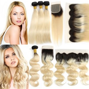Ombre 1B / 613 # Bleach Blonde brasileño peruano malasio indio remy del pelo humano tejer paquetes de onda recta del cuerpo con cierre de encaje frontal