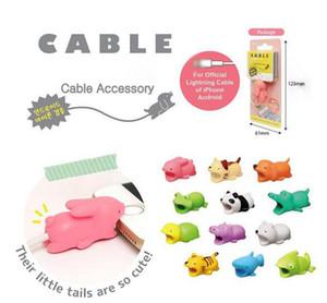 Animal cavo Bite Protector per iPhone Cable Organizer Winder Phone Holder Accessori coniglio gatto del cane di disegno sveglio