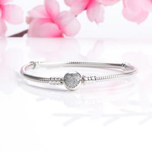 Réel S925 Sterling Silver 3mm Bracelet Coeur CZ Pave Bracelet fit Pandora Charmes Perles Européennes Bracelet Bijoux DIY Faire 10pcs / lot