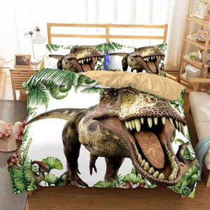 Cilected 3D Dinosaur Duvet Cover Set 2 3Pcs With Pillowcases King Queen Bedding Size Animal For Kids Bedroom Bedspreads
