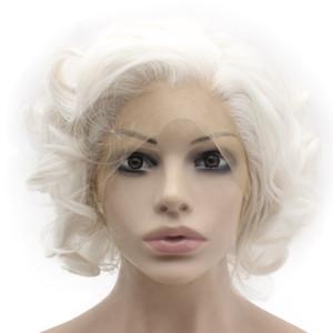 Meia Curta Curly Mão Amarrada Lace Front Branco Peruca Elegante