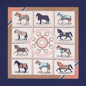 Nueva sarga bufanda de seda mujeres Plaid Horse Print España diadema bufanda señora pequeñas bufandas moda femenina pañuelo pañuelo 70 cm * 70 cm
